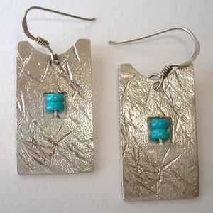 Sterling Silver Blue Bead Earrings Rectangle
